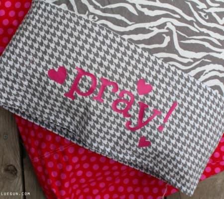 prayer pillowcase with heat transfer vinyl