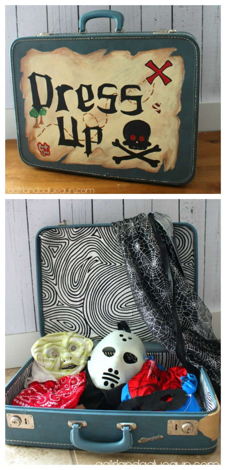 hand painted suitcase to hold dress up clothes