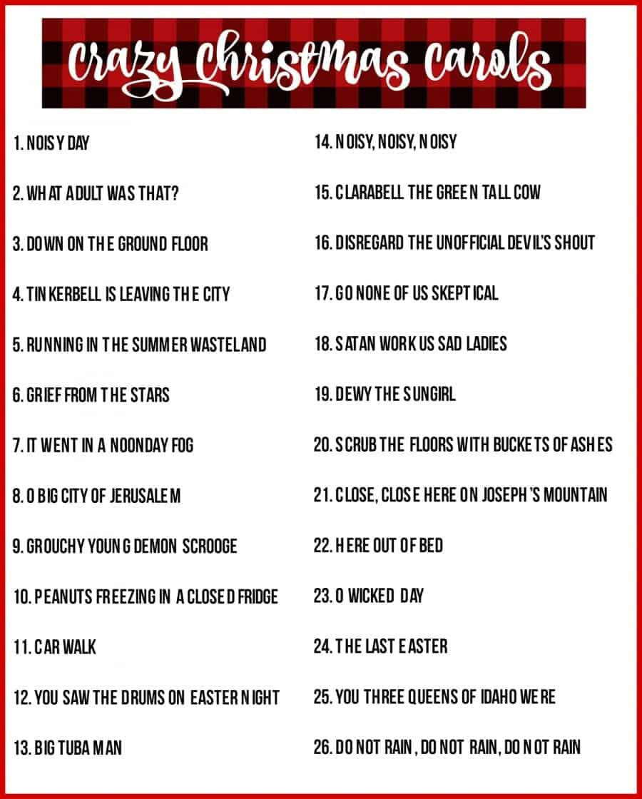 crazy chrismas carols free printable