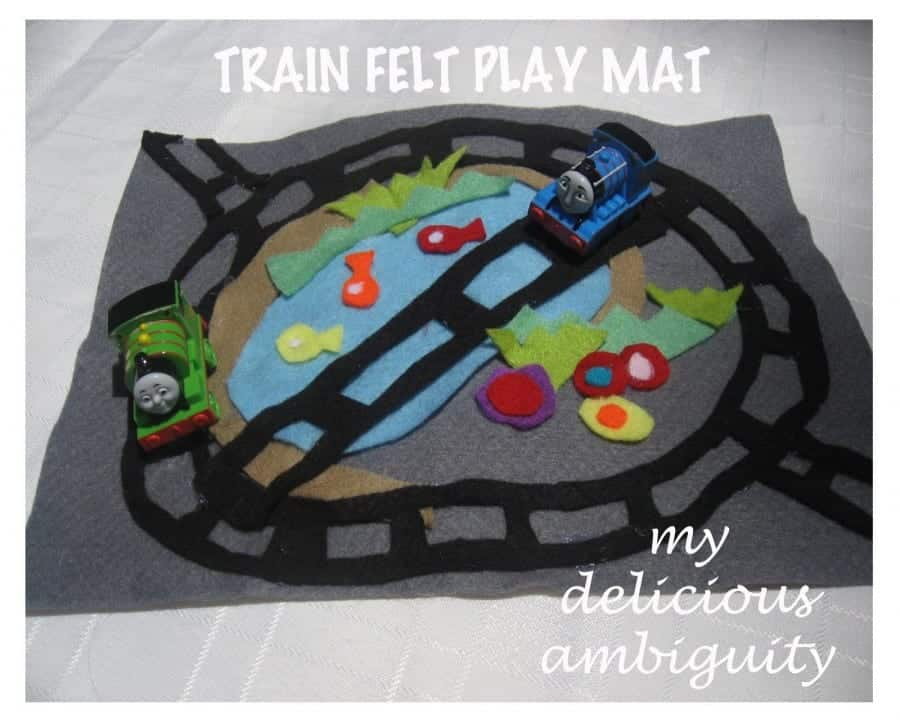 trains felt play mat