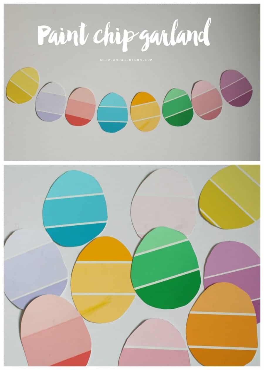 paint chip garland for easter eggs --a girl and a glue gun