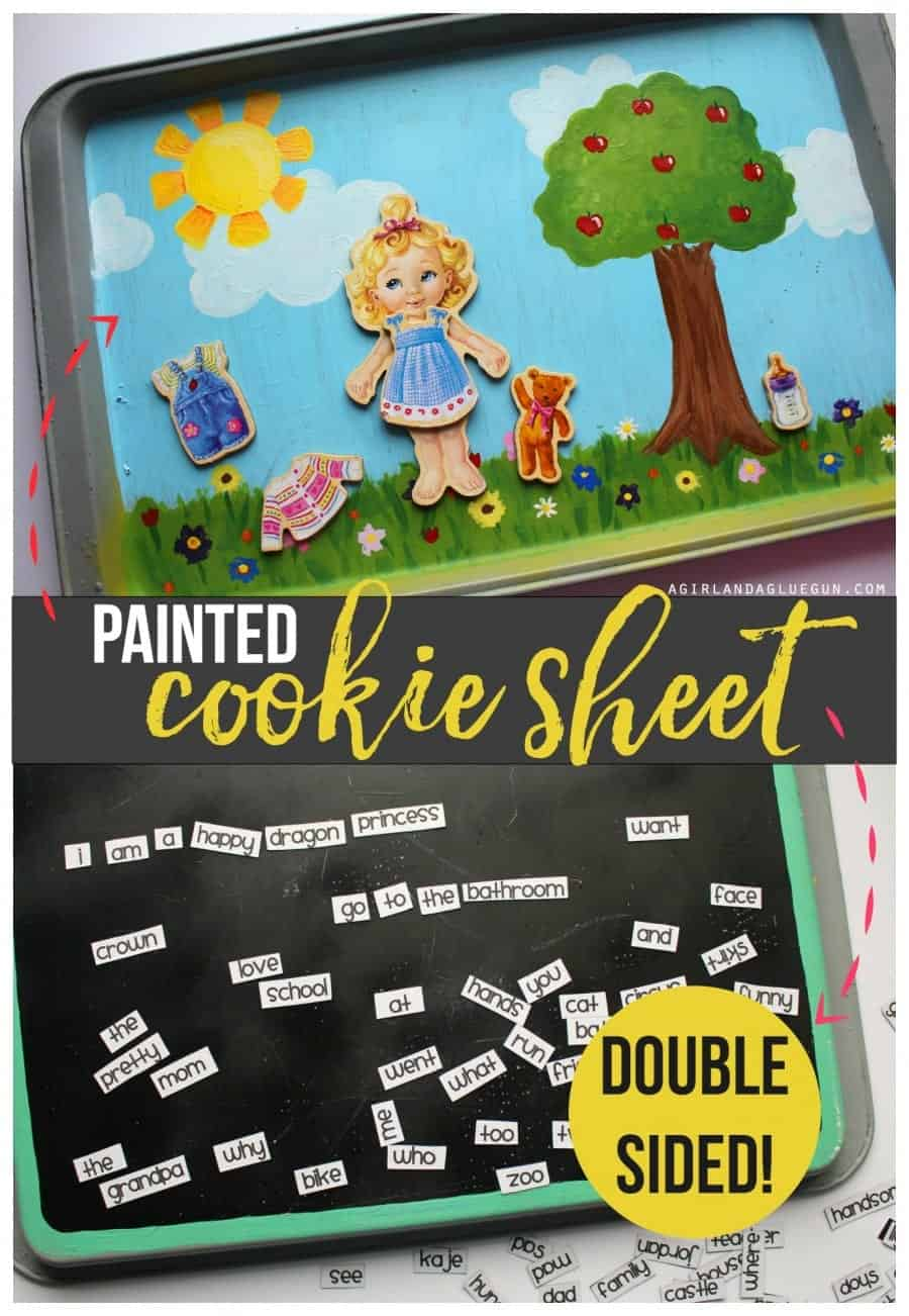 painted cookie sheet chalkboard paint and fun scenes--great for car rides.