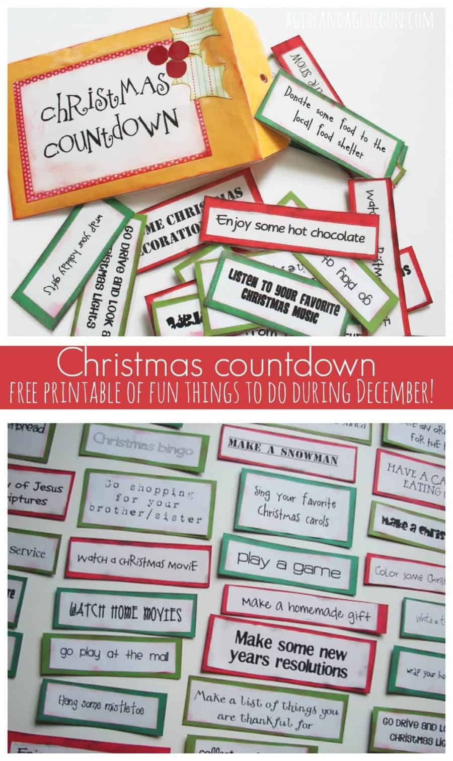 Christmas Countdown--free printables of fun things to do during December