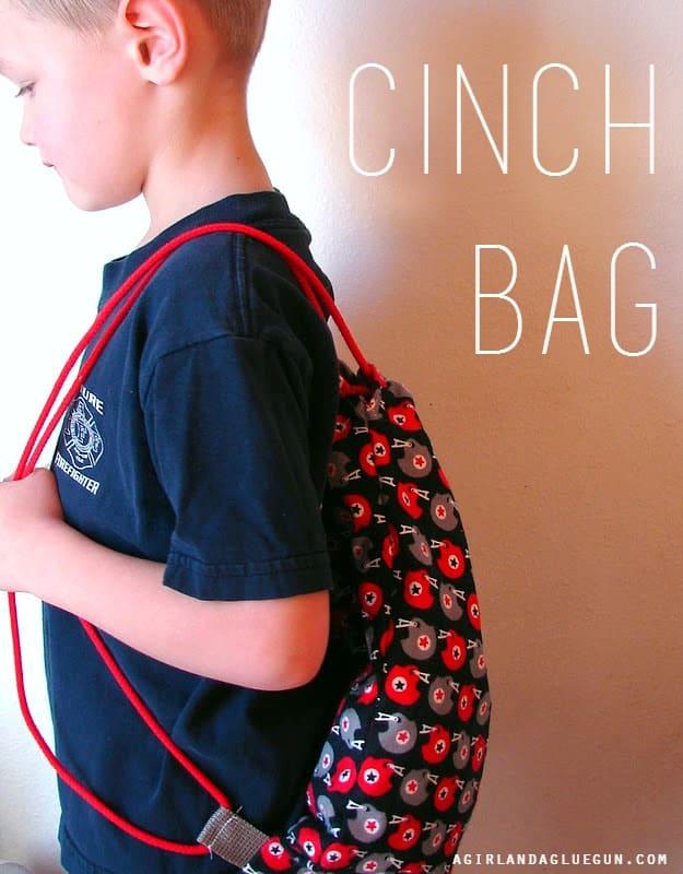 diy cinch bag. super easy
