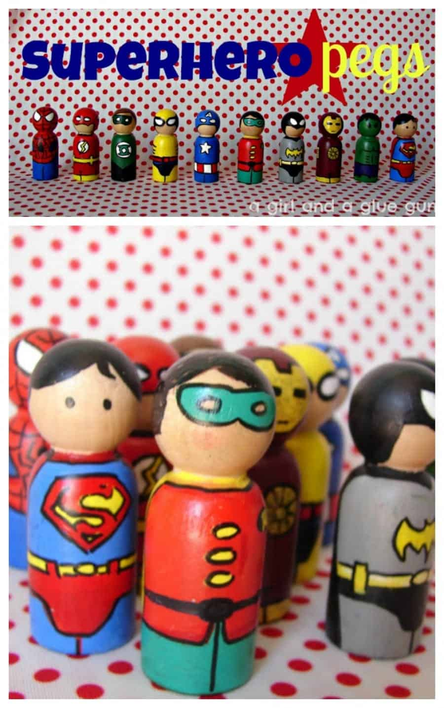 hand painted superhero peg dolls