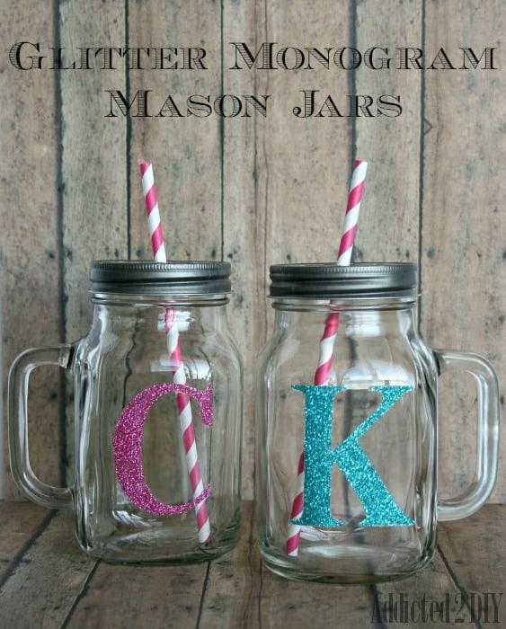 Mason jarnyl edition a girl and a glue gun monogram drinks glitter monogram mason jars solutioingenieria Gallery