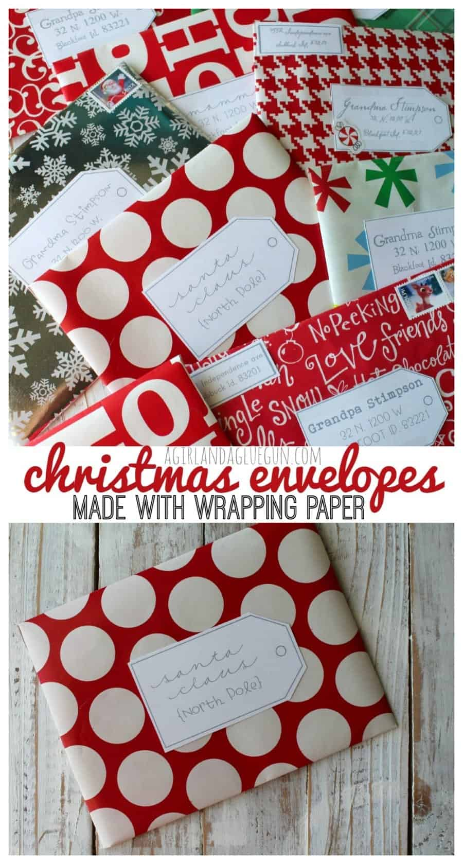 Christmas envelopes made with wrapping paper