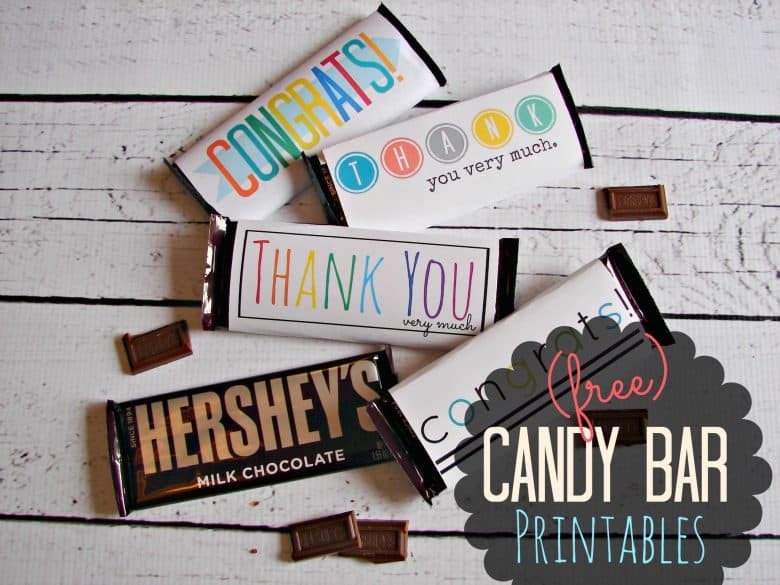 Free Candy Bar Wrapper Thank You And Congrats Printables