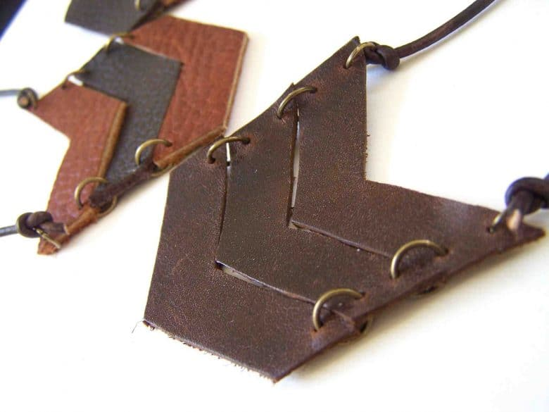 leather chevron necklace 3