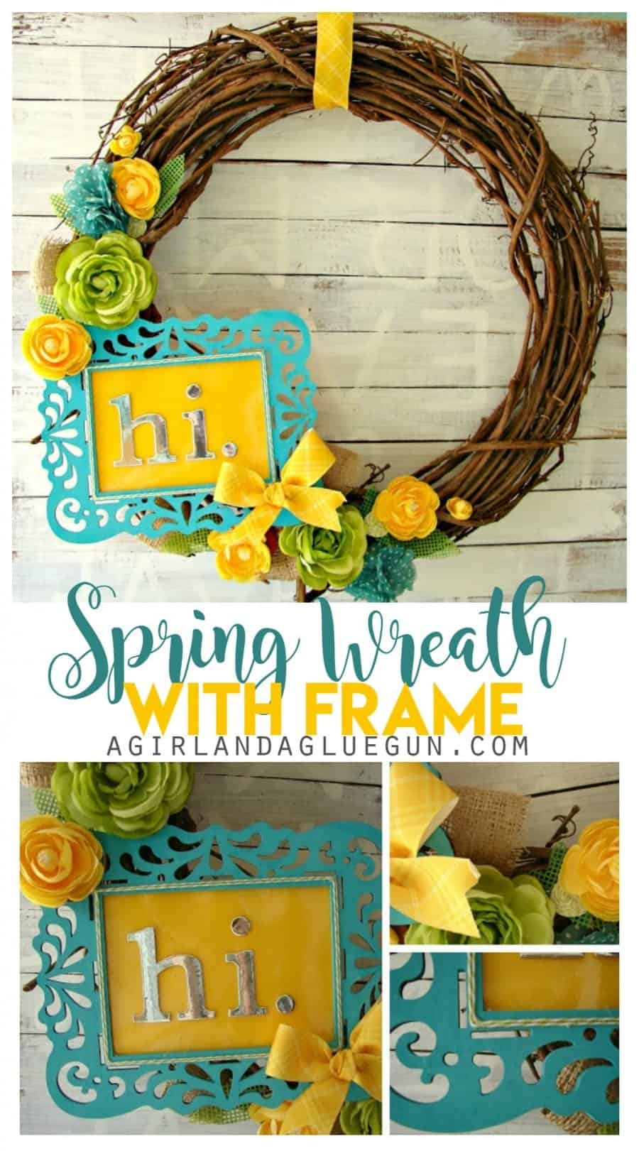 spring floral wreath diy--with cute frame. perfect for your front door. Love the yellow and blue!