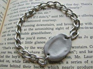 silver fingerprint bracelet (or charm) knock off