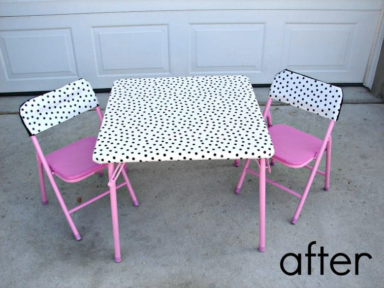 recover a kids table A girl and a glue gun