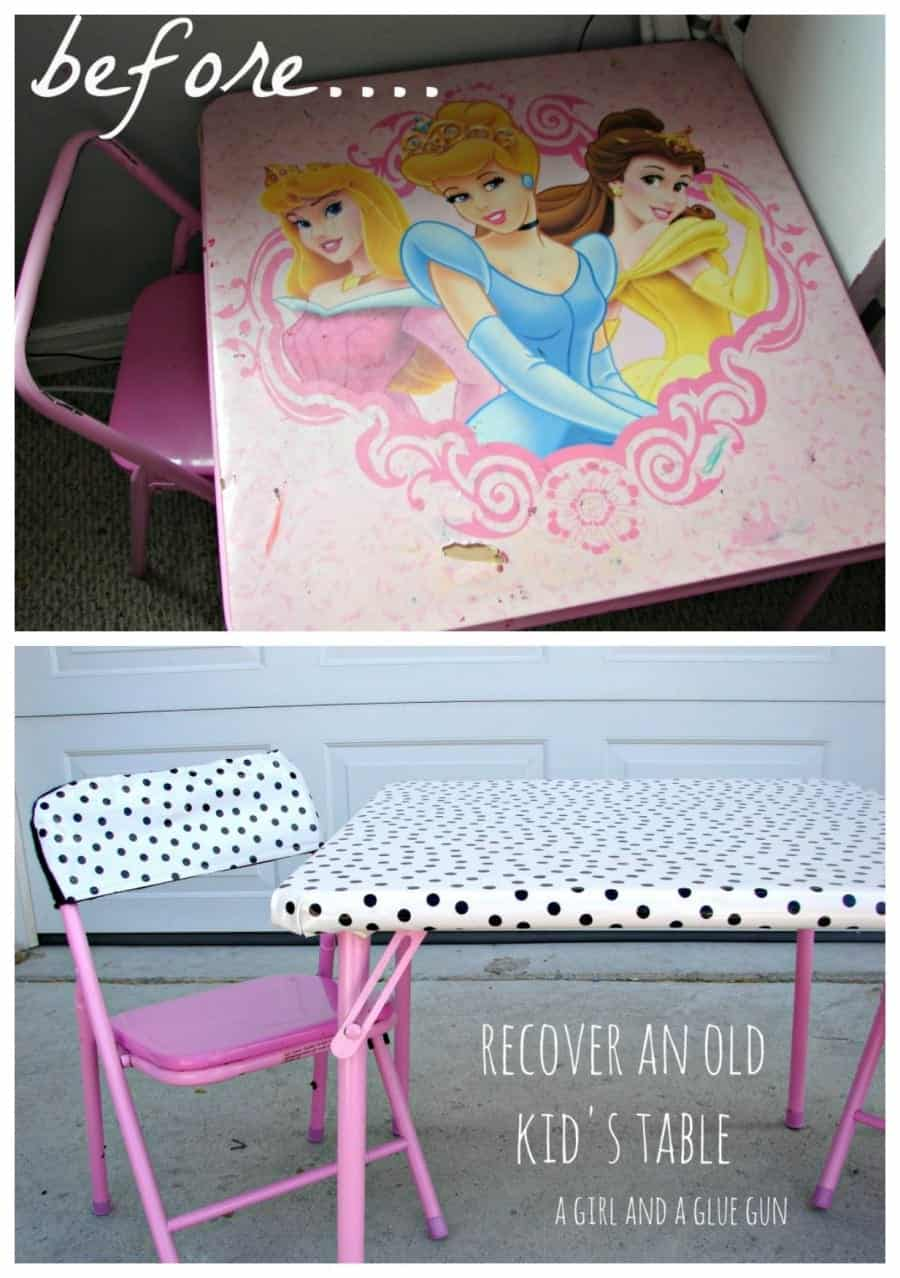 what to do with a kids table that is worn with hot glue
