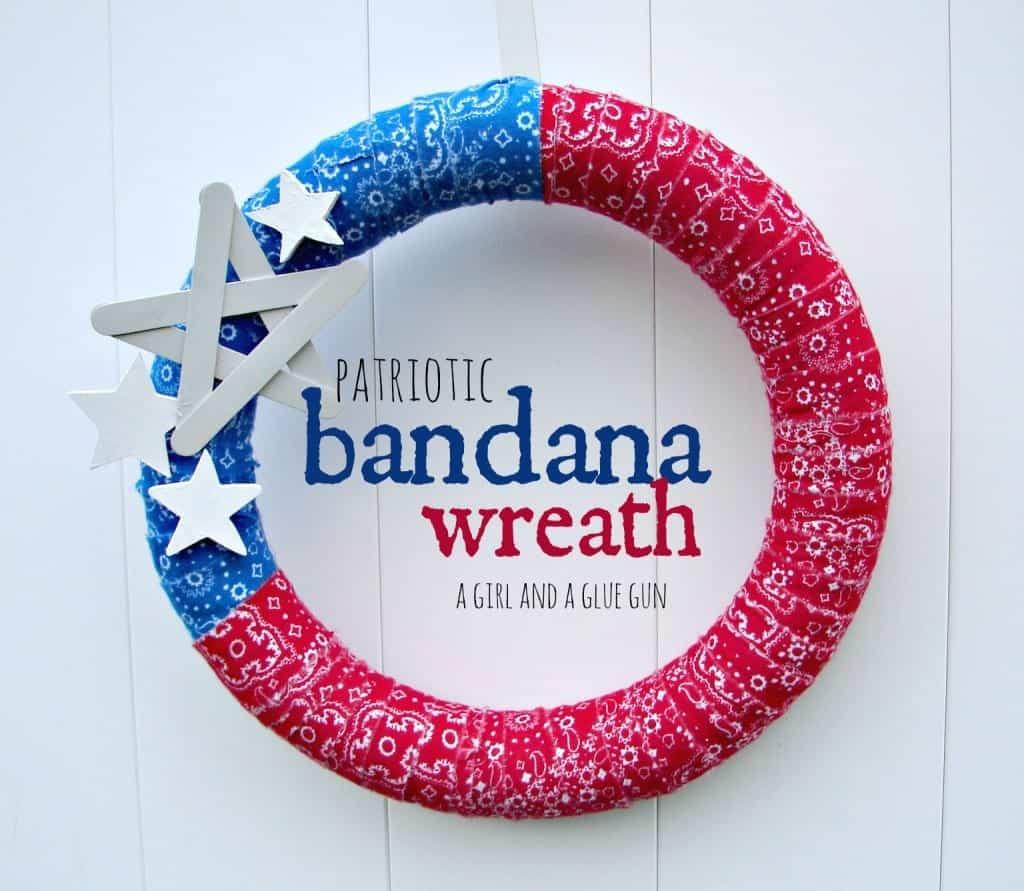 patriotic bandana wreath by a girl and a glue gun