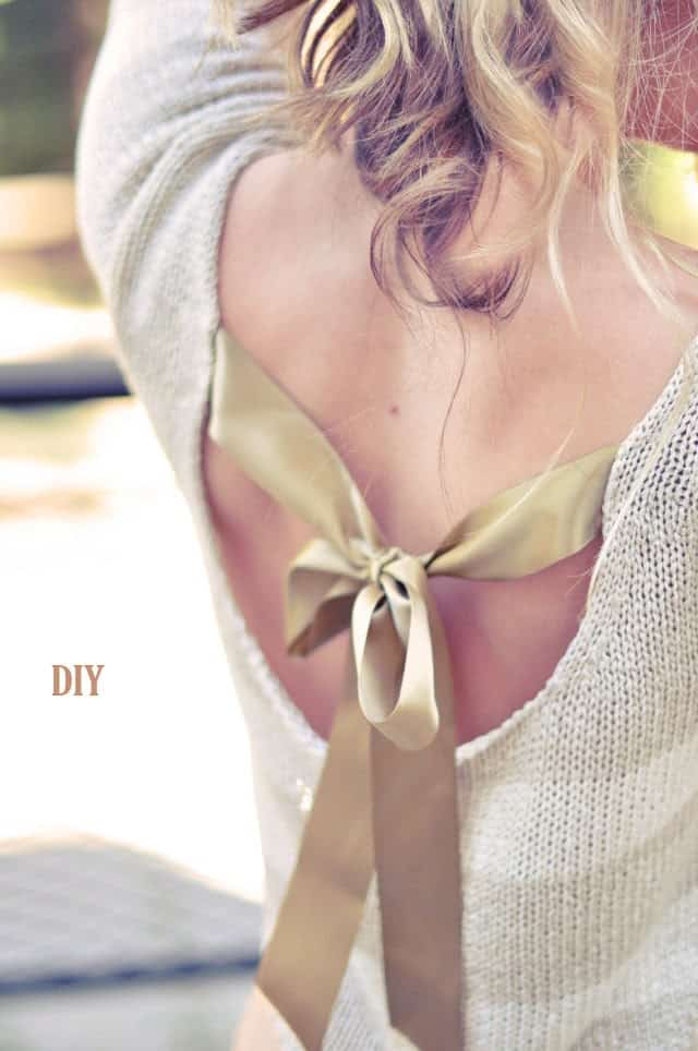 pretty sweater  DIY with open  back and bow tie DIY