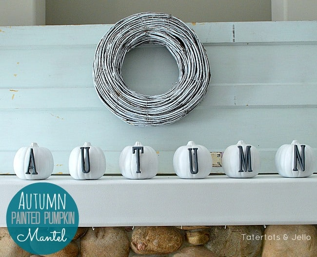autumn-painted-pumpkin-mantel-