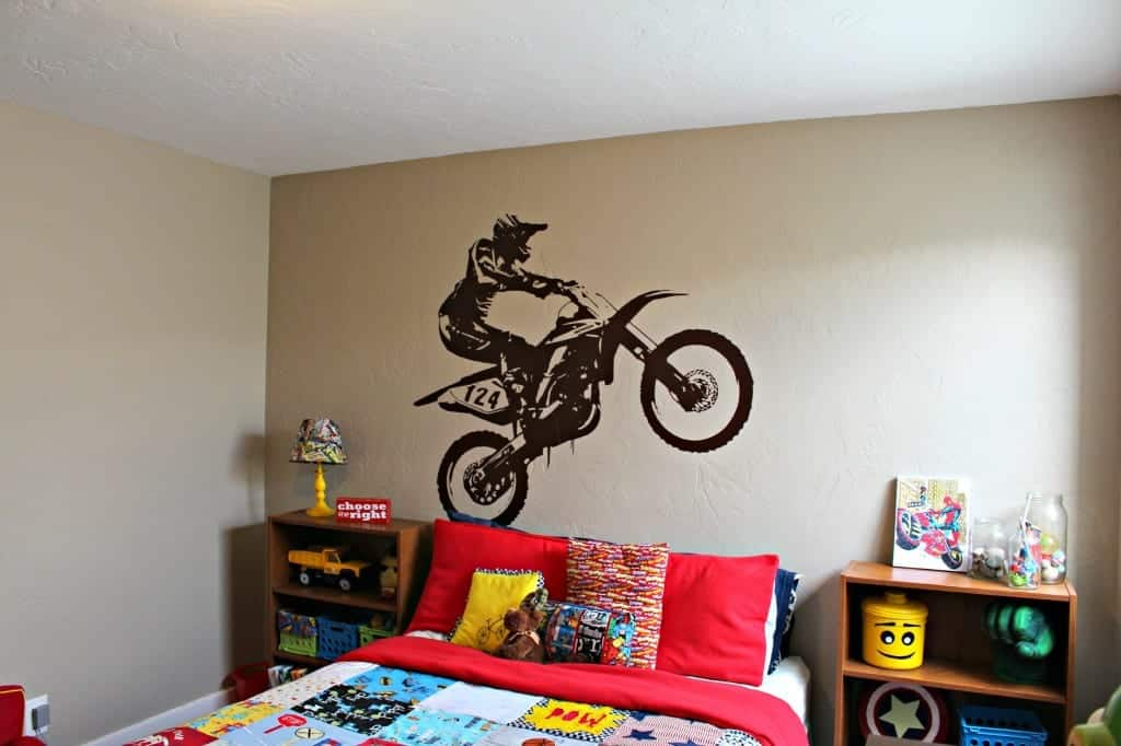 How to attach a ginormous piece of vinyl and icon wall for Dirt bike wall mural