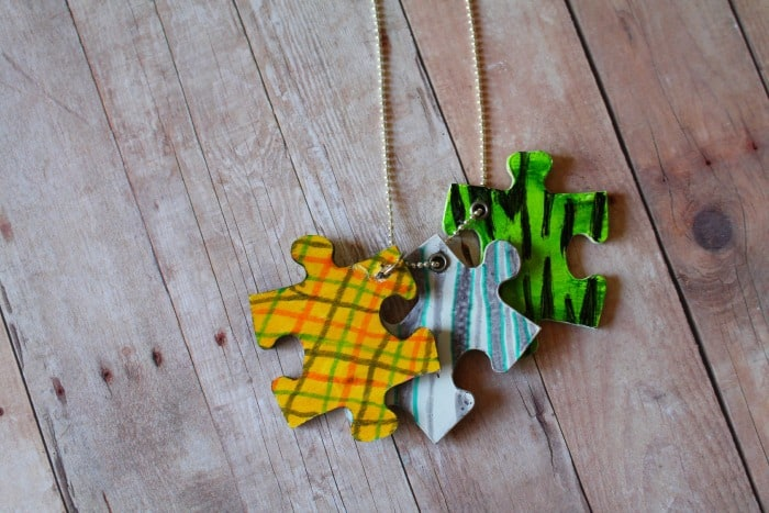 Friendship Necklace With Puzzle Pieces Kid Craft