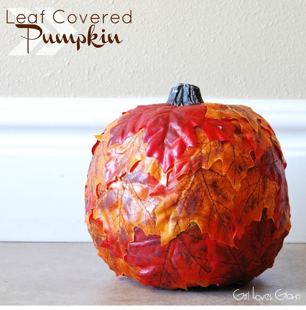 Leaf Coverered Pumpkin Tutorial