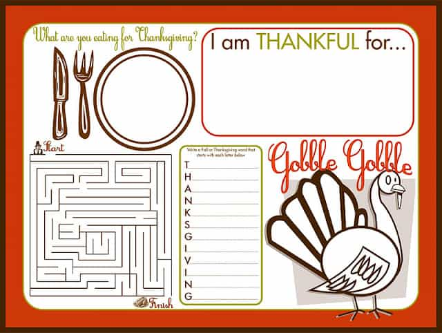 Thanksgiving Children's Activity Placemat Printable 12x16