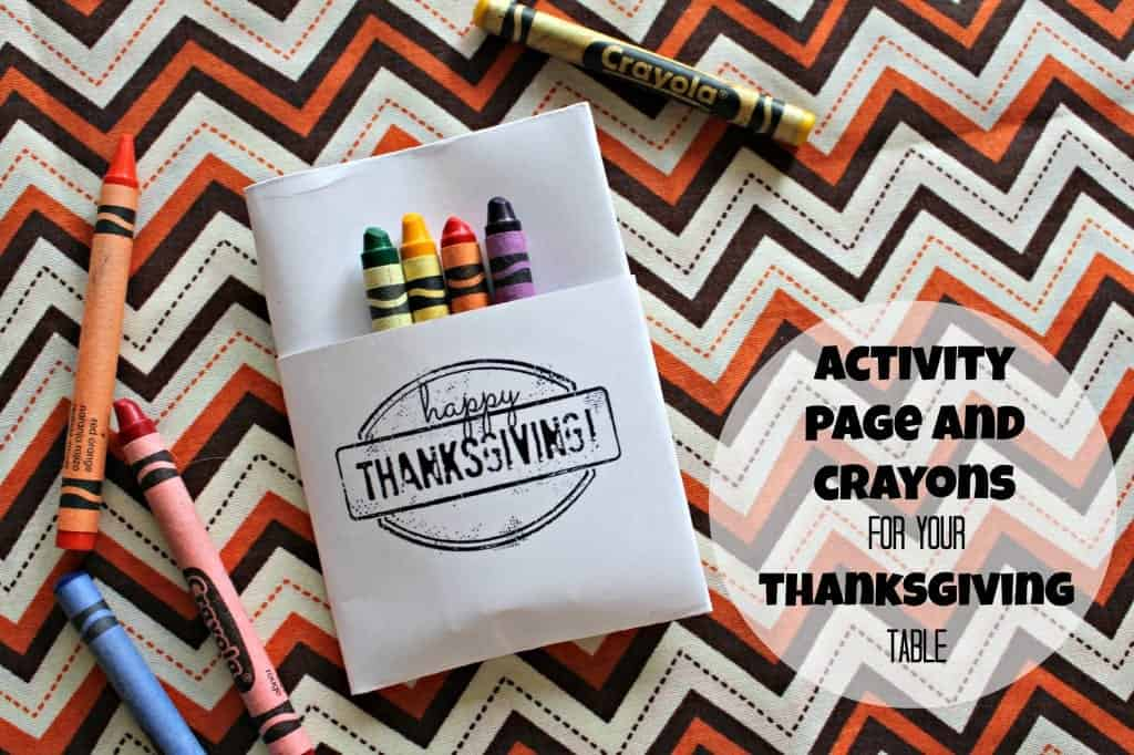 activity page and crayons for your thanksgiving table
