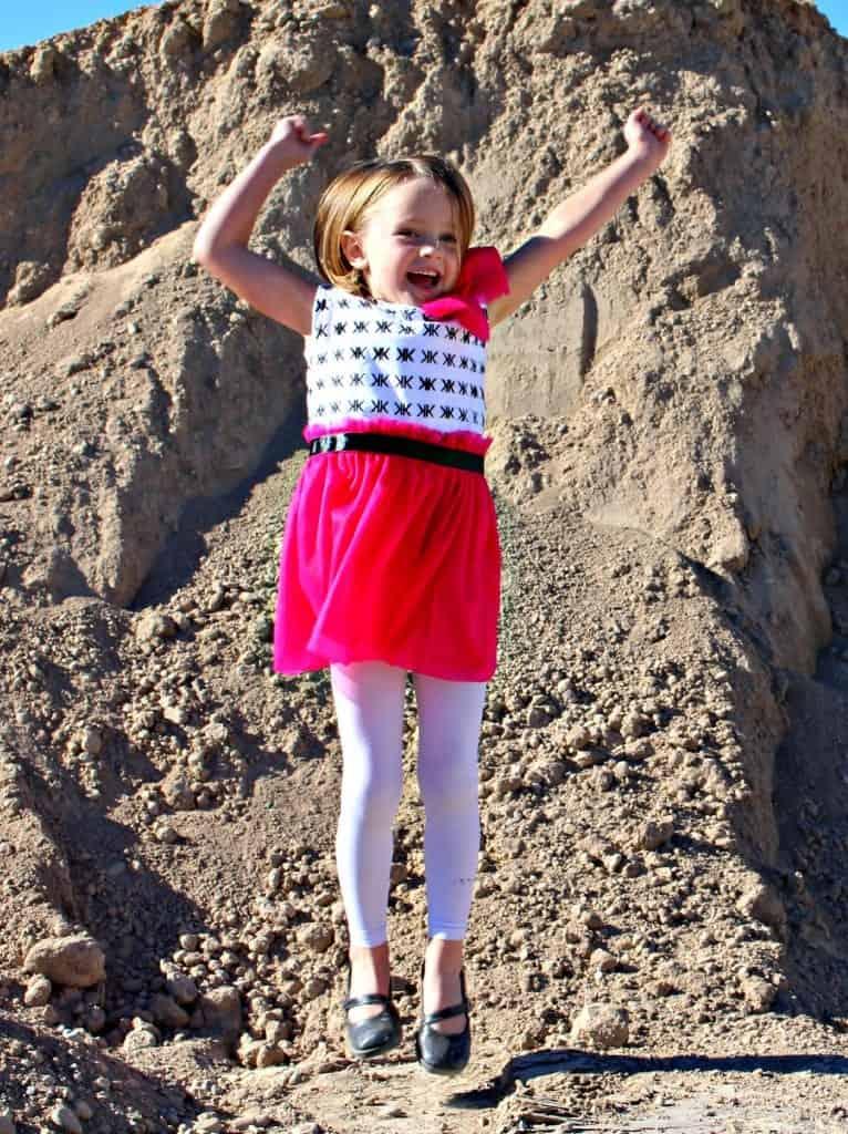 k dress jumping for joy