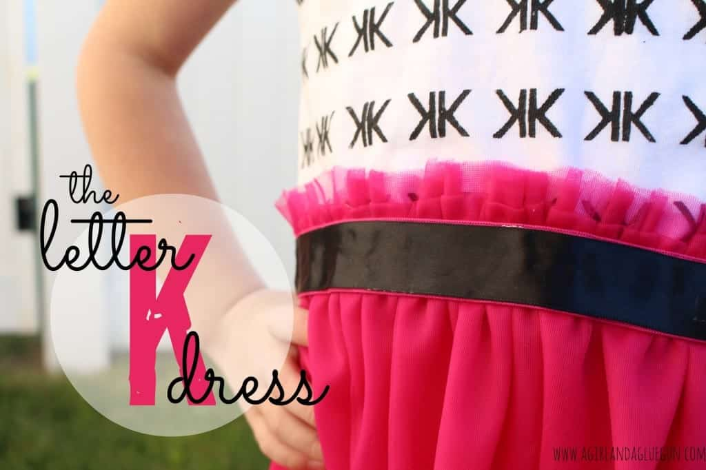 the letter k dress by a girl and a glue gun