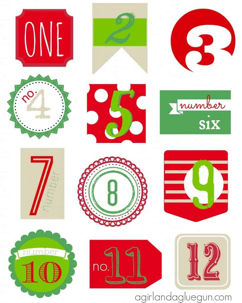 12 days of christmas countdown free printable