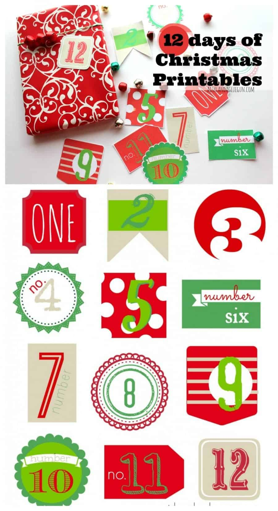 12 days of christmas free printables