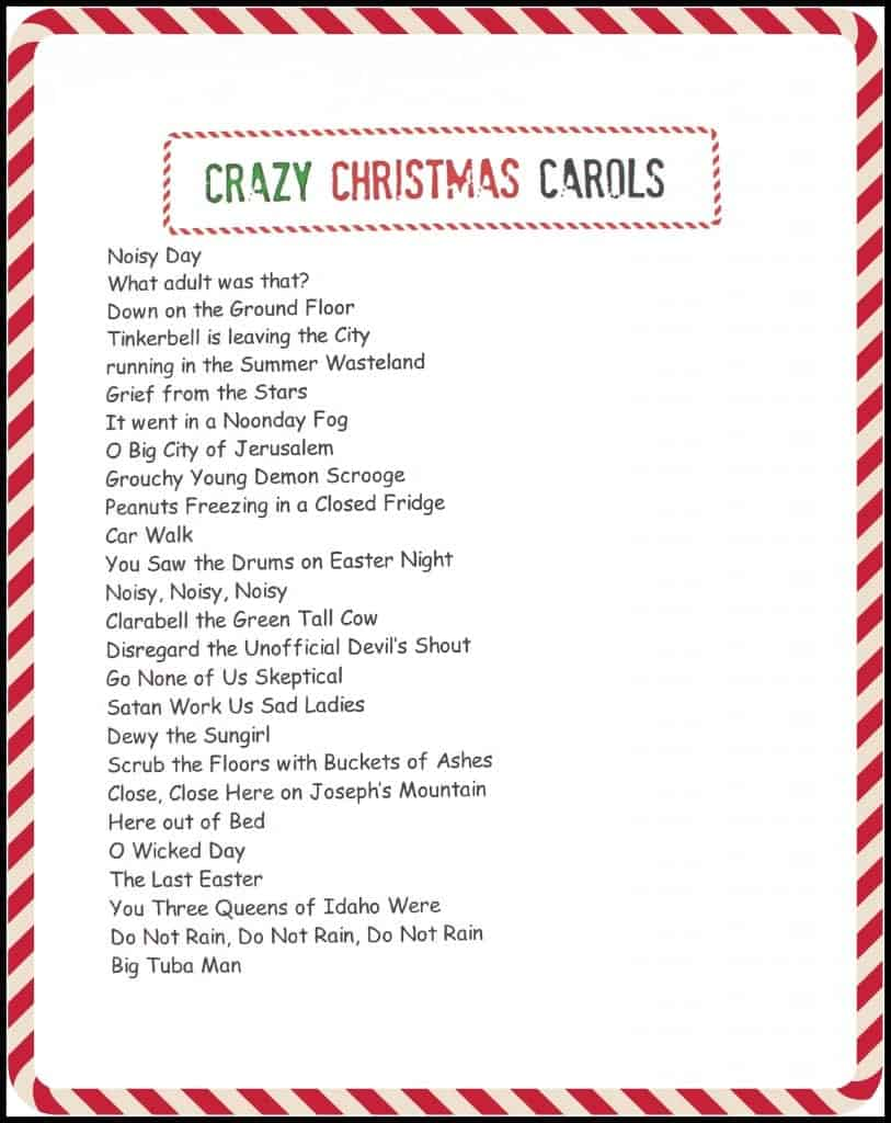 This is a photo of Influential Christmas Carol Game Printable