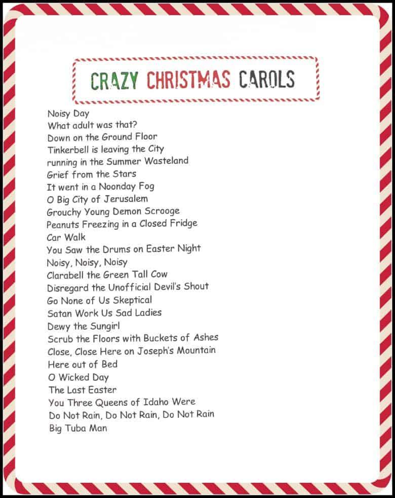 crazy christmas carols printable - A girl and a glue gun