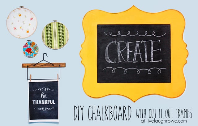 DIY Chalkboard using Plywood and a Cut It Out Wood Cutout at livelaughrowe.com