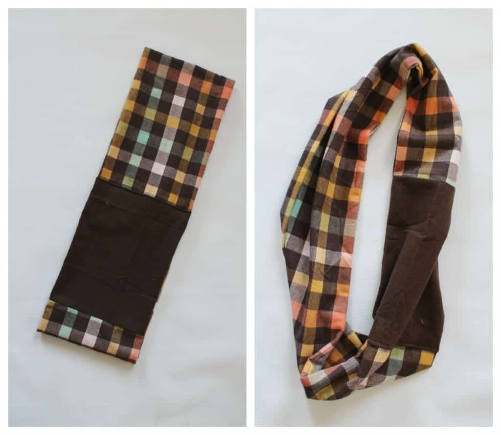 color block scarf in plaid