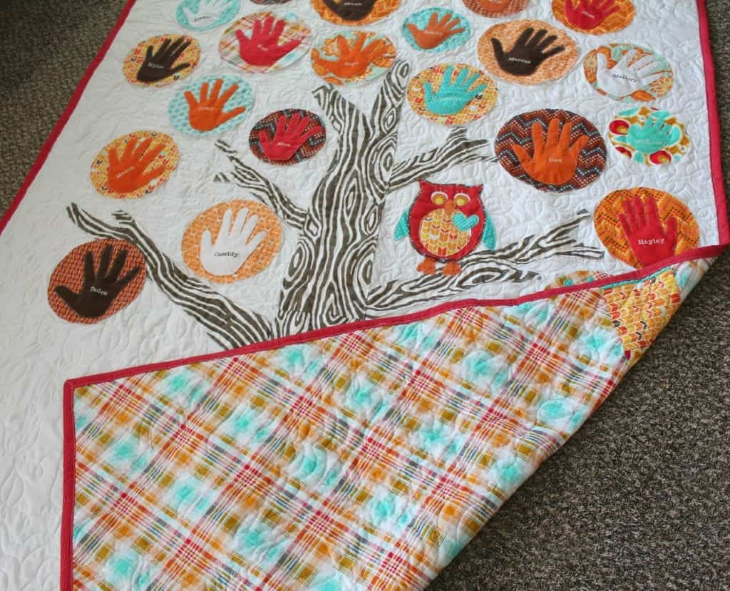 family tree quilt with hand prints