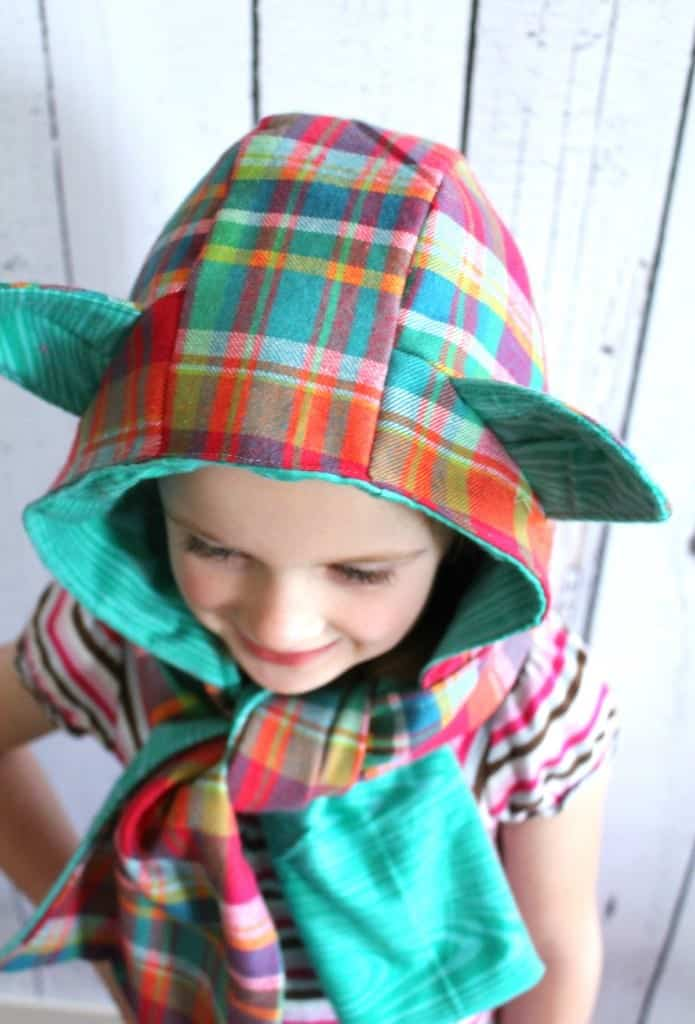hooded scarf with plaid
