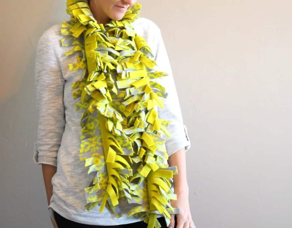 neon fleece scarf with fringe