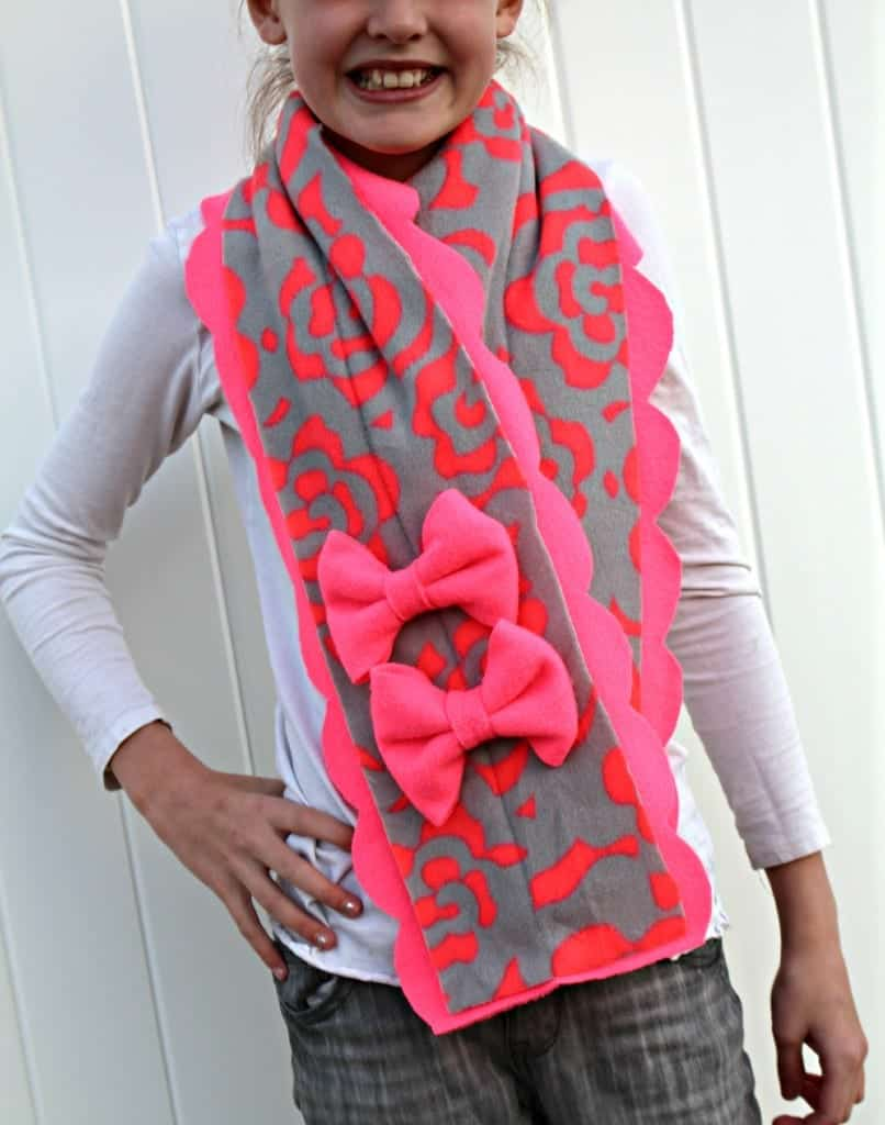 pink fleece scarf with bow