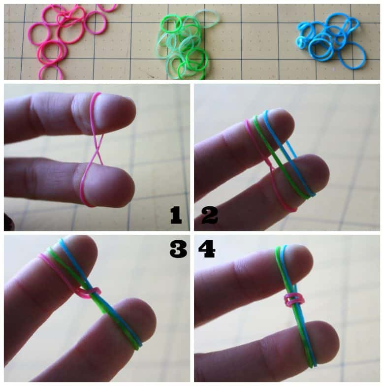 Rubber Band Bracelets Fishtail Instructions 1. first rubberband you