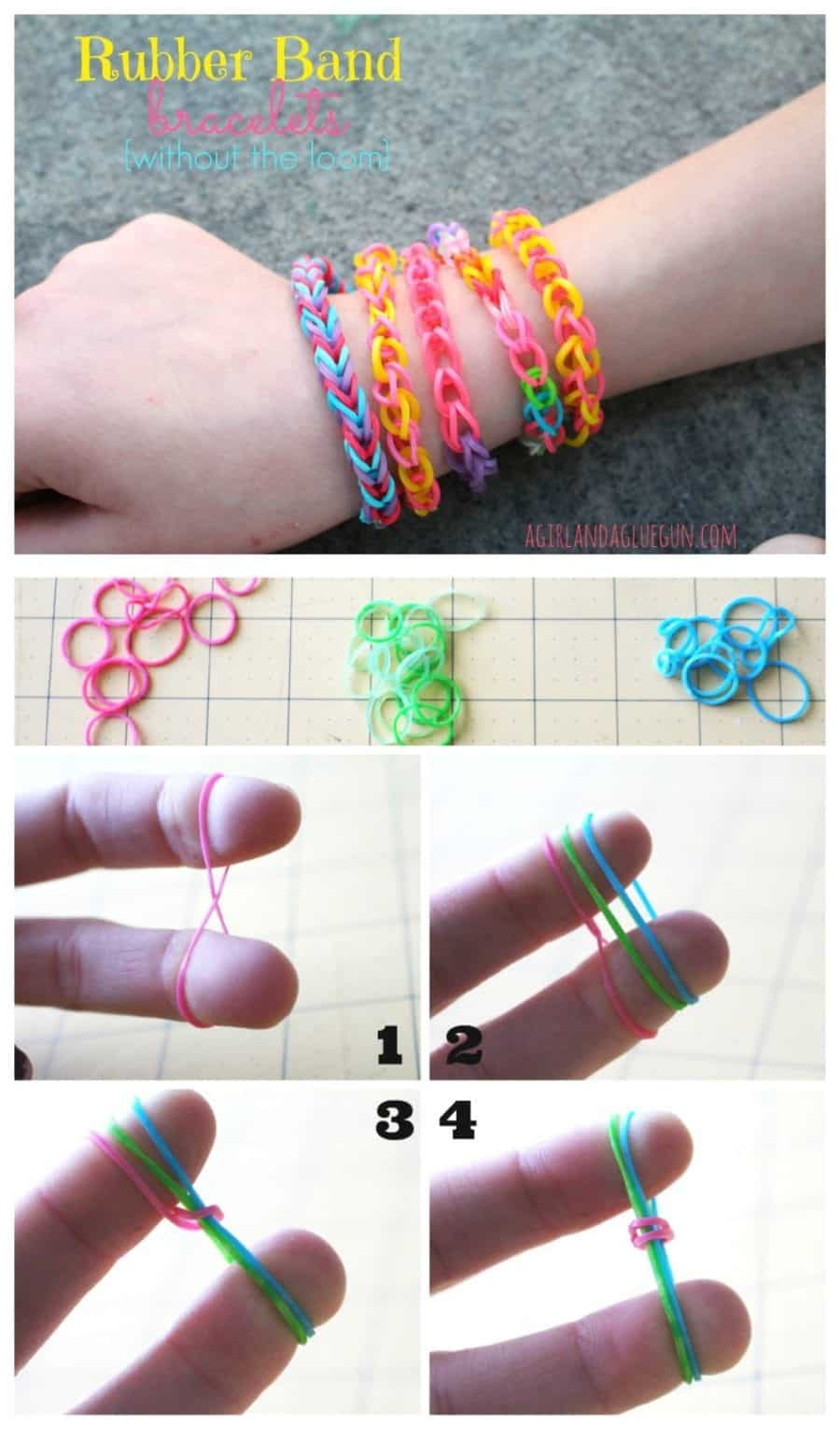 Rubber Band Bracelets Without The Loom A And Glue Gun