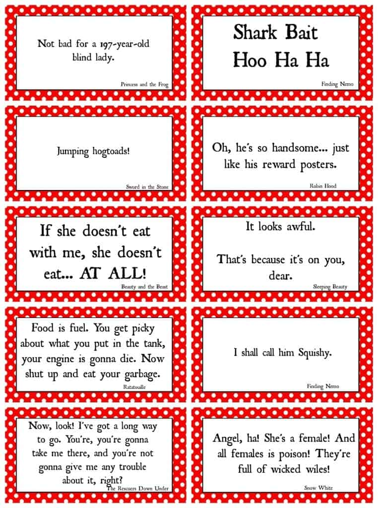 disney movie quote game free printables!