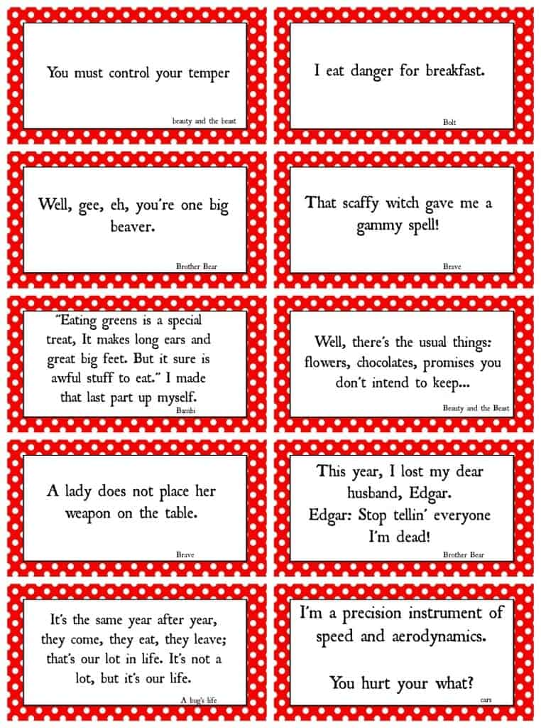 Disney Movie Quotes Custom Disney Movie Quotes Game With Free Printables  A Girl And A Glue Gun