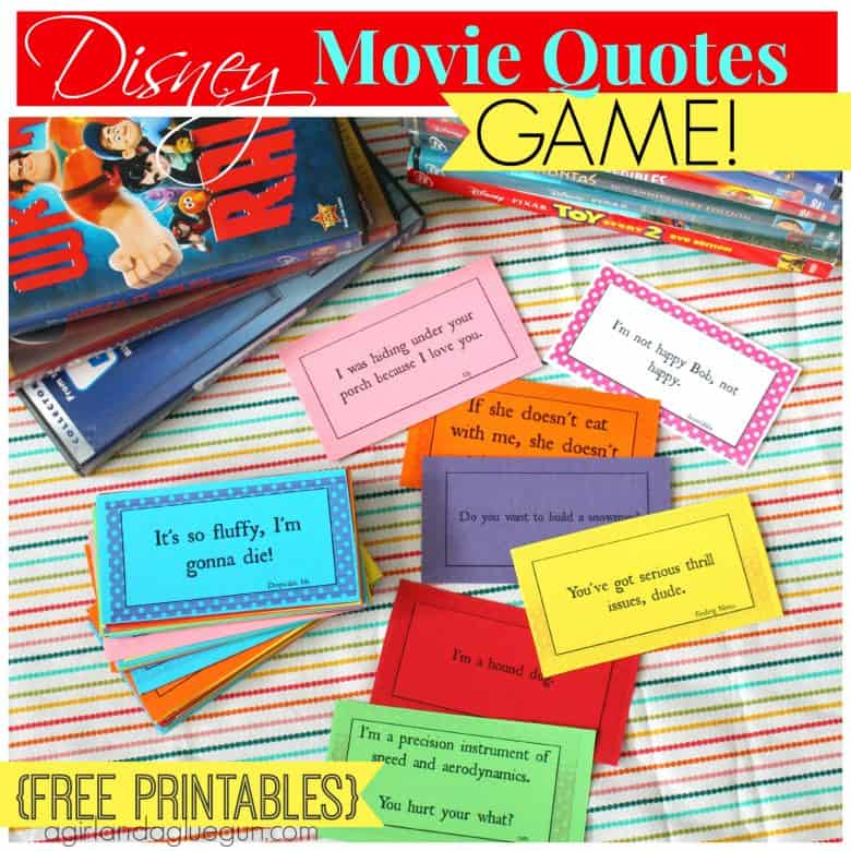 Disney Movie Quotes Disney Movie Quotes Game With Free Printables  A Girl And A Glue Gun