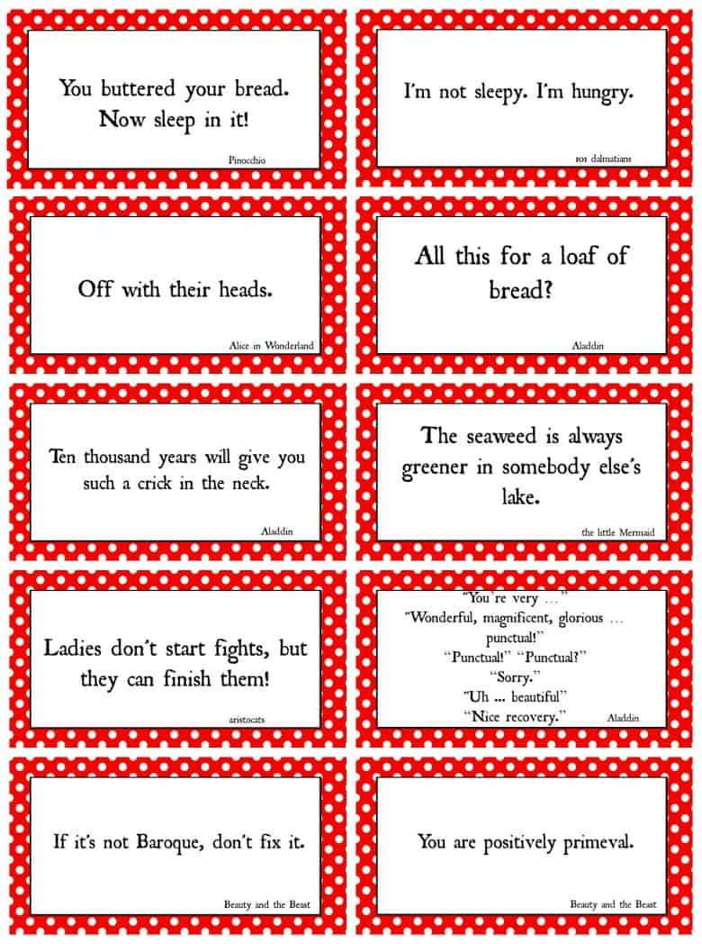 Disney Movie Quotes Game With Free Printables A Girl And A Glue Gun