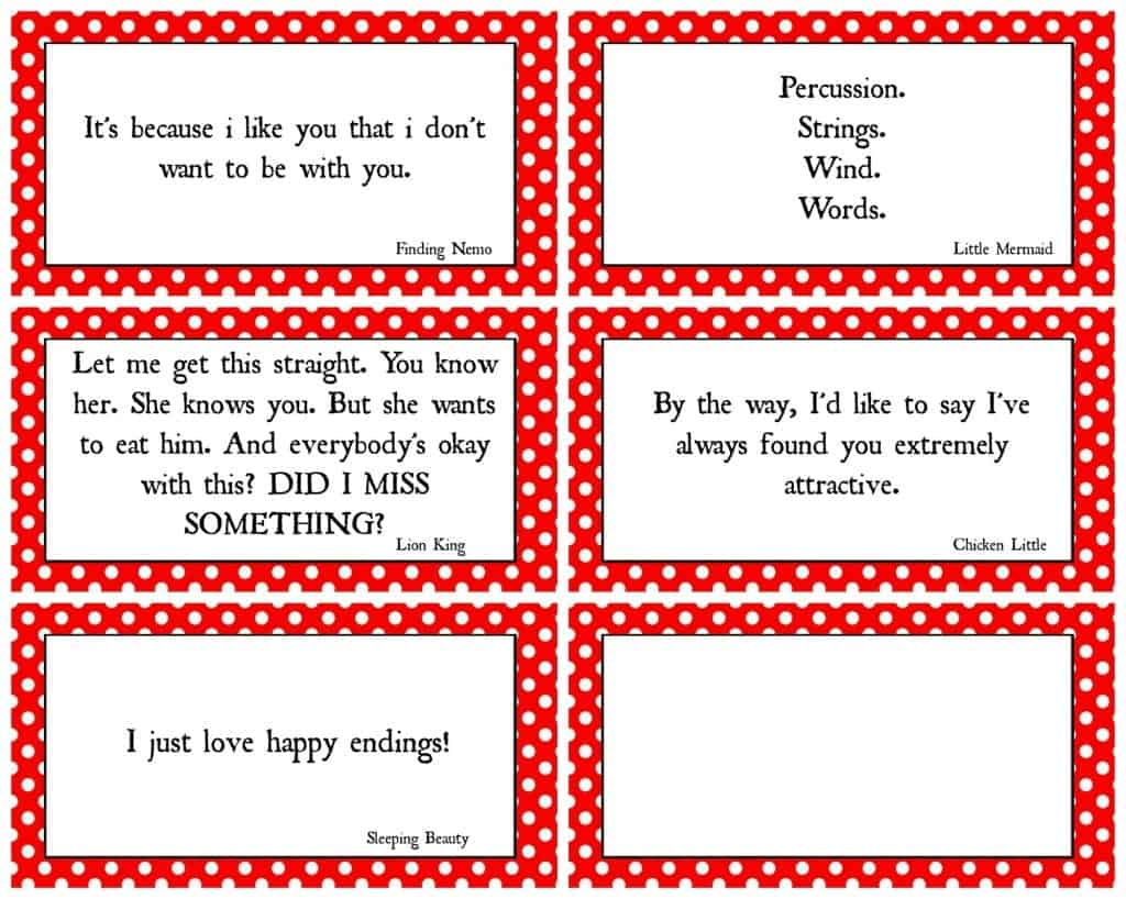 Disney Movie Quotes Game With Free Printables!