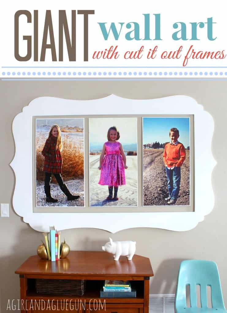 giant wall art with cut it out frames a girl and a glue gun