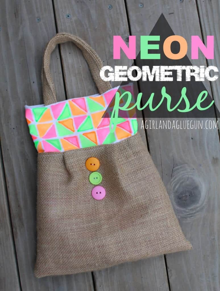 neon geometric purse with tulip fabric markers