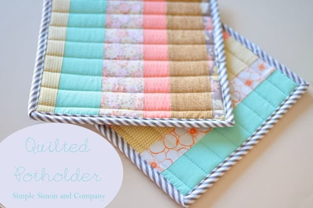 quilted potholder tutorial title--simple simon and company