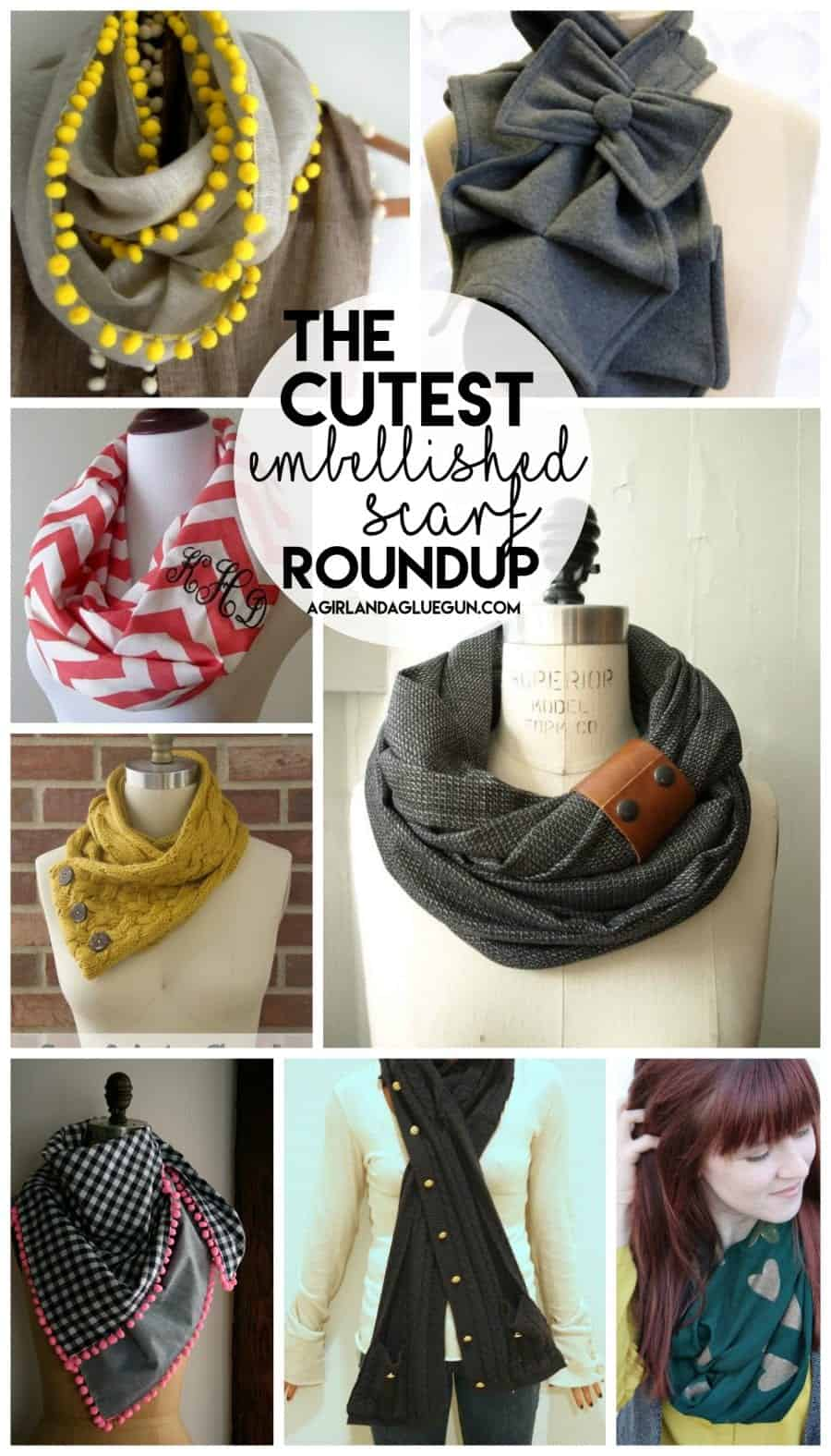 the cutest embellished scarf roundup-- a girl and a glue gun
