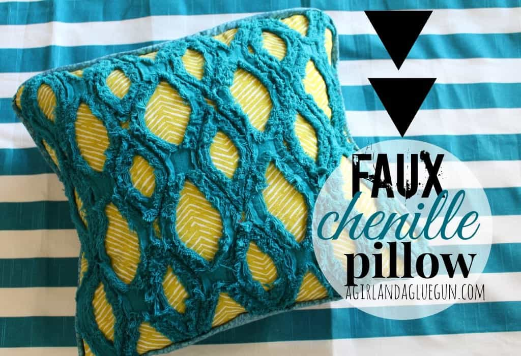 faux chenille pillow a girl and a glue gun