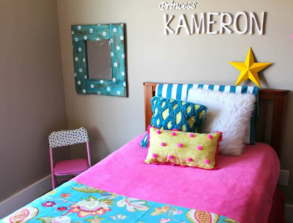 kameron's room with polka dot pillow